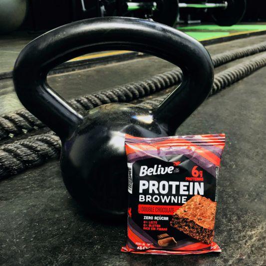 brownie proteico na academia