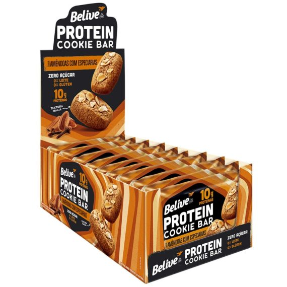 Cookies Proteicos sabor Amêndoas com Especiarias da Belive em display com 10 unidades