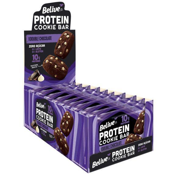 Cookies Proteicos Double Chocolate da Belive em display com 10 unidades