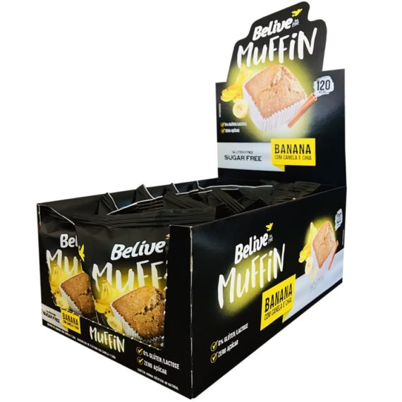 Muffins Fit sabor Banana com Canela e Chia da Belive