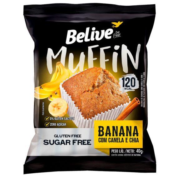 Muffin Fit de Banana com Canela e Chia da Belive