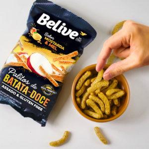 snacks proteicos de batata-doce sabor mostarda e mel