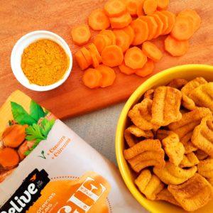 Snacks saudaveis sem gluten sabor cebola caramelizada da Belive