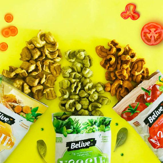três sabores de snacks saudaveis veganos da belive