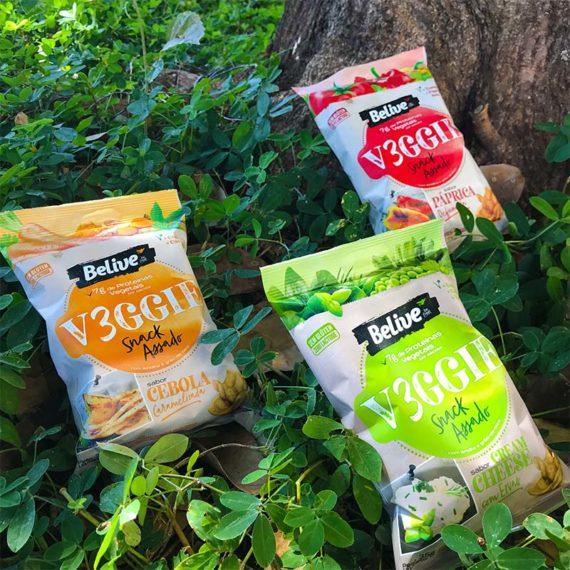 tres sabores de snacks saudaveis veganos da belive