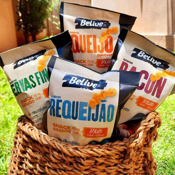 Snacks Fit de Milho da Belive, 4 sabores dentro de uma cesta