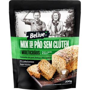 Embalagem mistura para pão sem glúten multigrãos Belive
