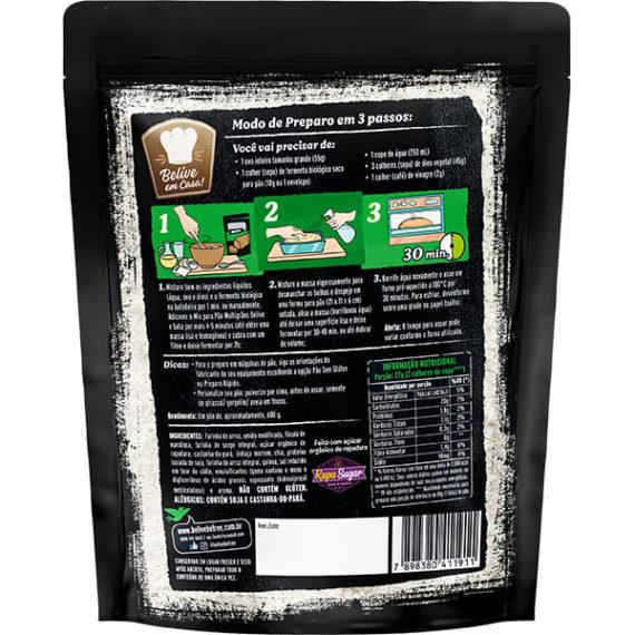 Embalagem mistura para pão sem glúten multigrãos Belive verso