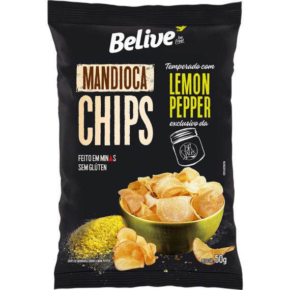 Chips de Mandioca BeLive temperado com Lemon Pepper BR Spices