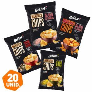 Chips de Batata-Doce e Mandioca Belive com temperos BR Spices